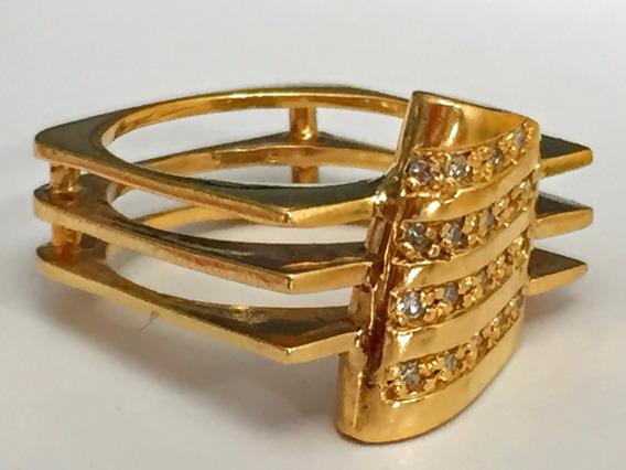 Belo Anel Ouro 18k-10.2 Gr.c/brilhantes, Aro 14.
