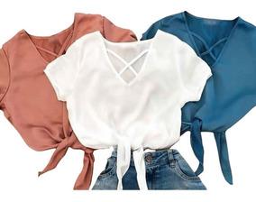 Blusa Blusinha Feminina Cropped Laço Verão Super Promoção