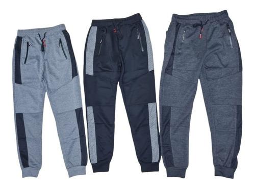 Imagen 1 de 9 de Pack 3 Pantalones Buzo Hombre Algodón. Jogger Fit Deportivo