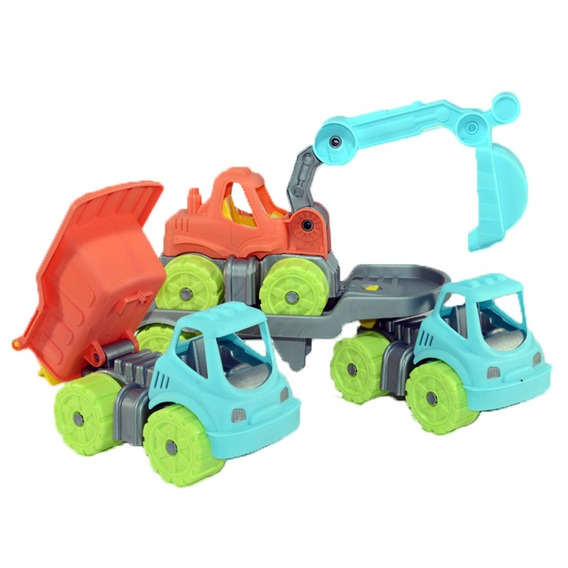 Camion Volcador, Retro Excavadora Y Camion Remolque Mini F