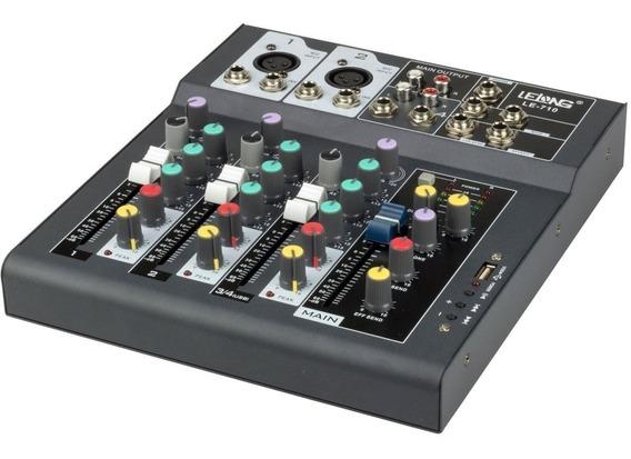 Mesa Controladora De Som Bluetooth Usb 4 Canais Le-710 Cinza