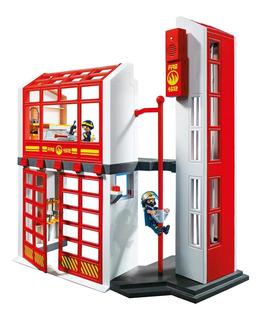Juguete Playmobil Estacion De Bomberos Con Alarma Original