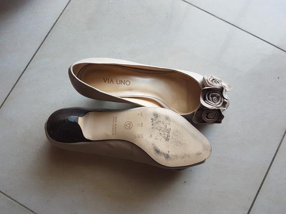 Zapatos Via Uno Beige Nro 37
