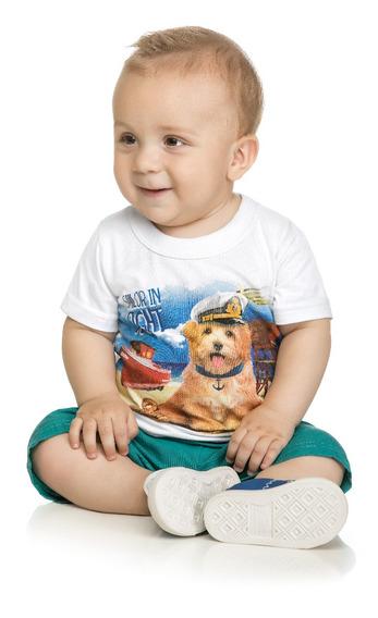 Conjunto Camiseta Em Meia Malha E Bermuda