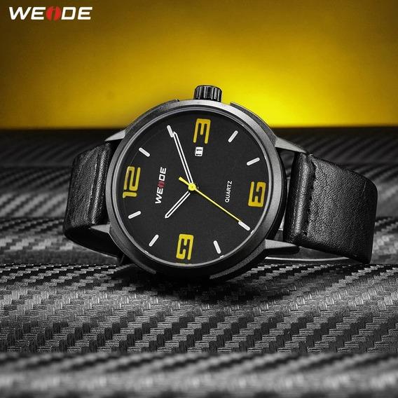 Relógio Masculino Weide Preto E Amarelo Couro Promoção