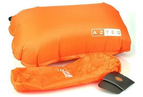 Travesseiro Inflável Azteq Looper Laranja Camping Viagem