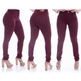 823d6181e Calça Jeans Feminina - Calças Jeans Feminino Bordô no Mercado Livre ...