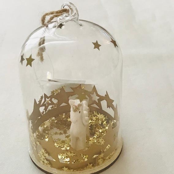 Outlet Adorno Unicornio Star Decoração Natal Cúpula Vidro
