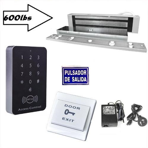 Kit Cerradura Electromagnetica 600lbs Con Control De Acceso Y Pulsador