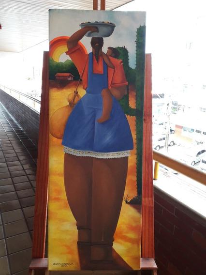 Pintura Óleo Sobre Tela Agricultura Com Balde De Roupa
