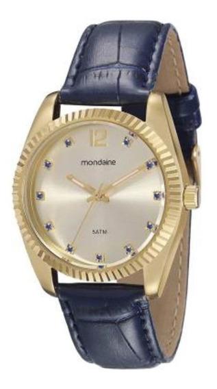 Relógio Feminino Dourado Pulseira Couro Azul A Prova D