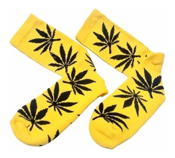 Meias Hemp Cannabis Maconha Skate Amarela