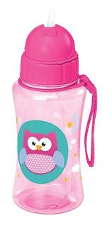 Garrafinha Infantil Squeeze Plástico C/ Canudo 400 Ml Coruja