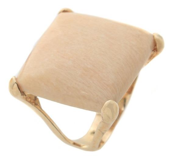 Anel Com Pedra Natural Bege Folheado A Ouro 2701