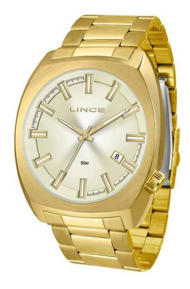 Relógio Lince Masculino Dourado Original Luxo Mrg4585s C1kx