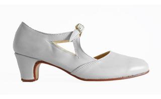 Zapatos Español, Folklore, Tango, Jazz, Danza - Cuero Blanco