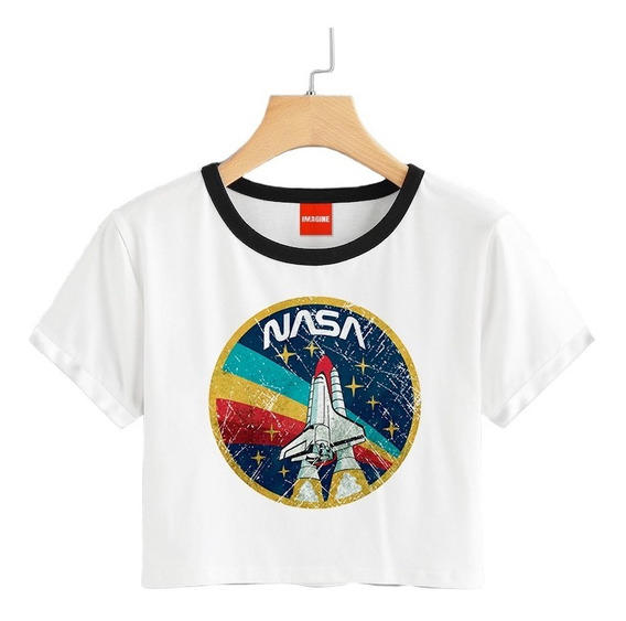 Blusa Dama Nasa Astronauta Espacio Colores Playera Crop #663