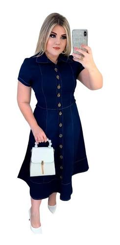 Vestido Evangelico Jeans Feminino Nesgas Botões Comportado