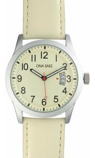 Reloj Ona Saez 0188plblbl Cuero Hombre Original Ctas S/int