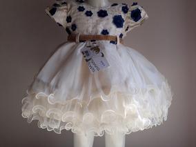 Vestido Bebê Creme Com Azul Flores Luxo Realeza Festa