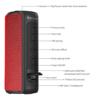 Altavoz Bluetooth Tronsmart T6 Plus, 40w