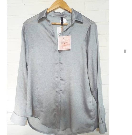 Camisa Blusa Materia Nueva Metalizada Gris Talle M