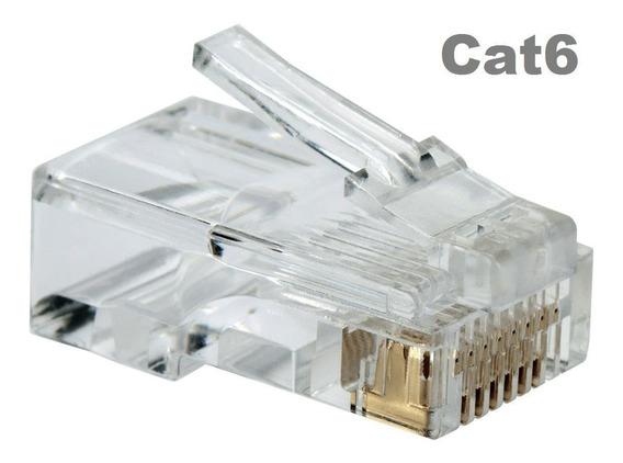 Conector Rj45 Cat6 (100 Unidades) Macho Banhado Ouro Oletech