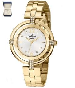Kit De Relógio Champion Analógico Feminino Cn25421w Dourado