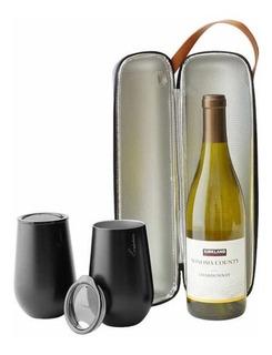 Juego Portador Para Botella De Vino 750 Ml + 2 Vasos Tapa Gc