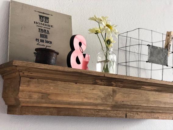 Estante Repisa Madera Vintage Con Moldura 60 X 14 Cm