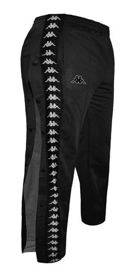 Pantalon Kappa Banda Astoria Snaps Moda Con Botones Negro