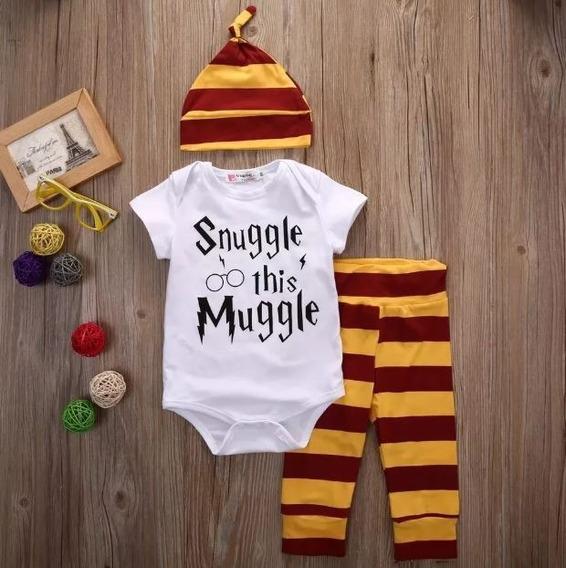 Enxoval Bebe Oferta Bodie Bebe Harry Potter C/ Calça E Touca