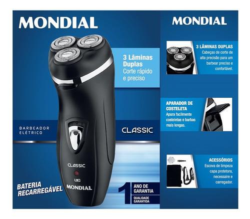 Barbeador Elétrico Mondial Classic Nbe-01 110v/220v Preto
