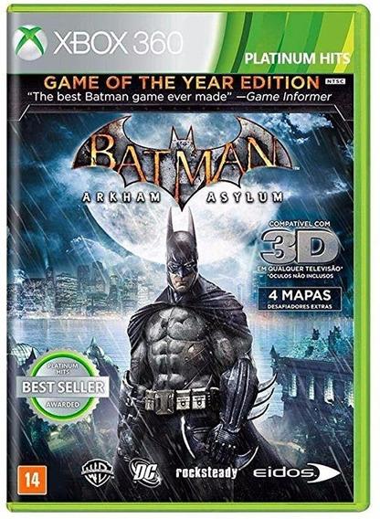 Jogo Batman Arkham Asylum Goty Xbox 360 Mídia Física Novo