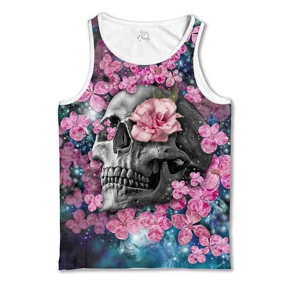 Regata Branca Floral Skull