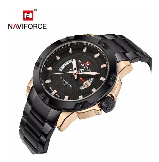 Relógio Naviforce Nf9085, Metal, Preto, Original, 2 Modelos