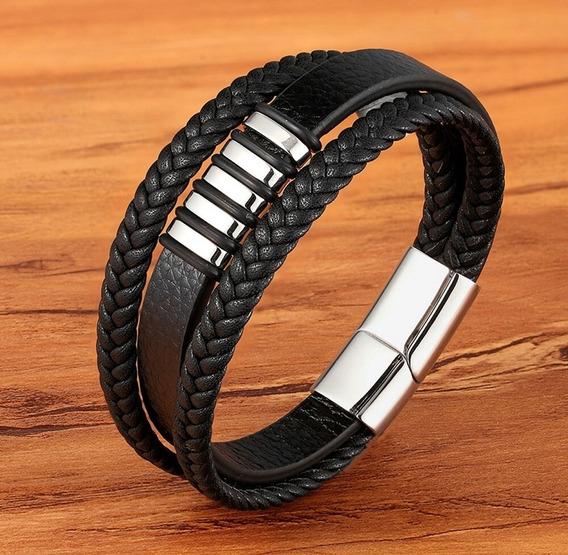 Pulseira Bracelete Couro Genuíno Fecho Magnético