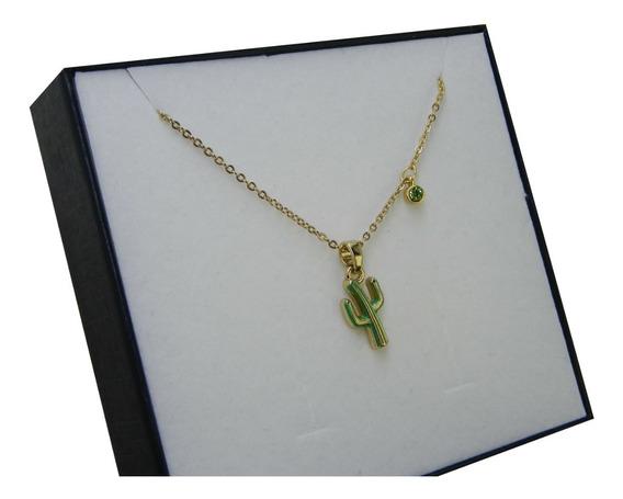 Collar Cactus Cristal Baño Oro 18k Nice Regalo Mujer C/envío