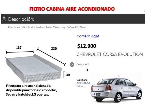 Filtro Aire Acondicionado Chevrolet Corsa Evolution