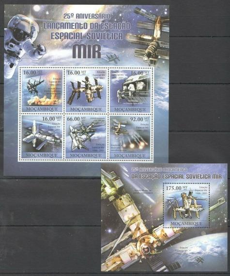 2011 Espacio- Estación Espacial Mir - Mozambique (2 Bloques)