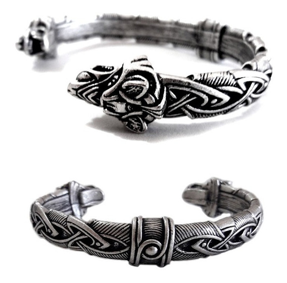 Bracelete Viking Trançado Lobo Fenris Tribal Motorcycle Rock