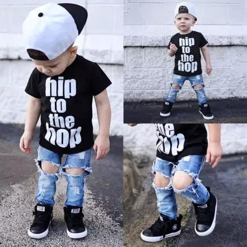 c76a54693 Ropa Para Niño Conjunto Jean + Camiseta A La Moda - $ 70.000 en Mercado  Libre