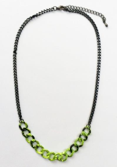 Gargantilha Neon And Black Chain Colar Bijuteria