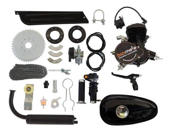 Kit Motor Bicimoto Bicicleta Motorizada 80cc 2t - Preto
