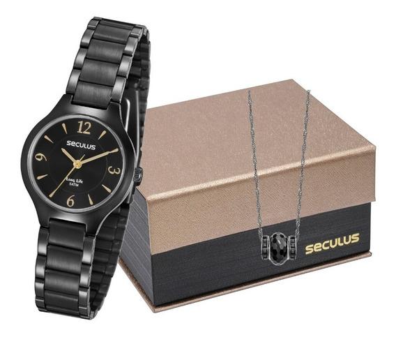 Kit Relógio Feminino Seculus 77017lpsvpa2 Promo Promoção