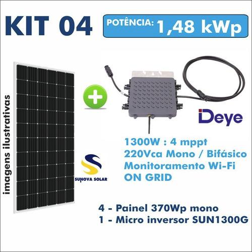 Kit Usina Solar Gerador Micro Inversor + 4 Painel 370w