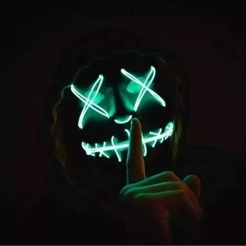 Mascara La Purga Plastico + Luces Neon Y Efectos + Pilas