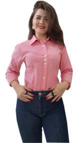 Camisa Social Feminina Top Oferta Promoção Tricoline Slim