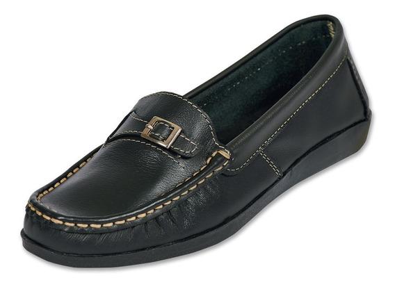 Calzado Dama Mujer Zapato Mocasin Tipo Piel En Negro Comodo