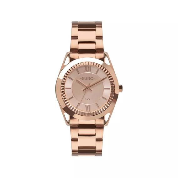 Relógio Euro Feminino Metal Frame Rosé